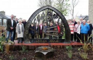 Councillors with the new sculpture at Whitehouse Lane, Ushaw Moor