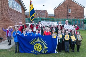 Carrside Youth & Community Project with the Commonwealth Day flag